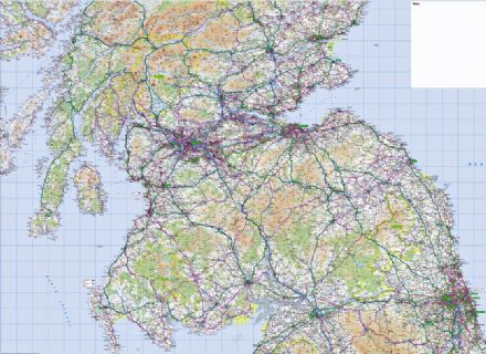 3. Ordnance Survey Road Map Southern Scotland & Northumberland - Wall Map